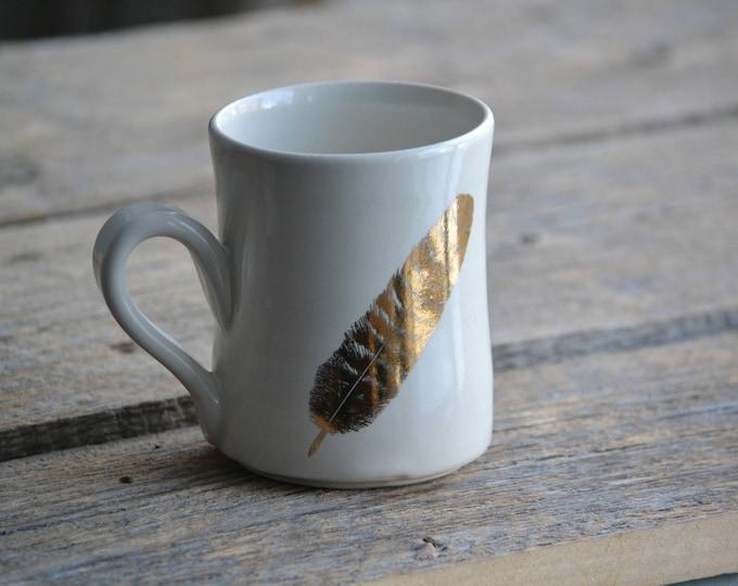 22k Gold feather handmade ceramic white simple mug V1