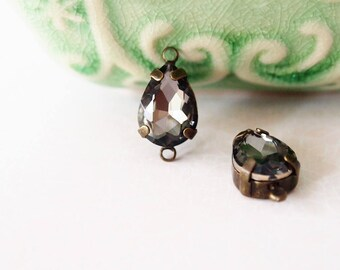 2 Glass Rhinestone Faceted Tear Drops Double Loop Connector Colour Smoke Black Metal Antique Brass Tone  Size 14x10mm