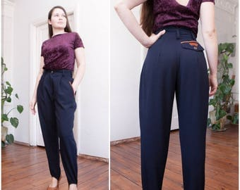 80s High Waisted Pants Navy Mom Pants W26 W27 Stirrup Pants Designer Tapered Pants Womens XS Stirrup Trousers High Waist Baggy Riding Pants
