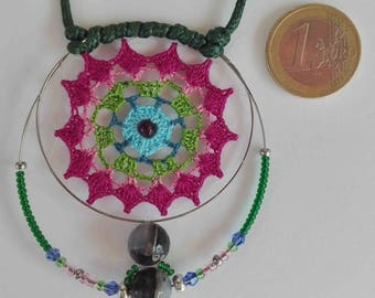 Mandala crochet pendant with cotton yarn, craftsman, original, crystal beads and Botswana, cheerful, colorful and vegan agate,