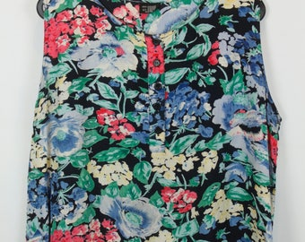Vintage shirt, 80s clothing, shirt 80s, flower print, sleeveless, oversized
