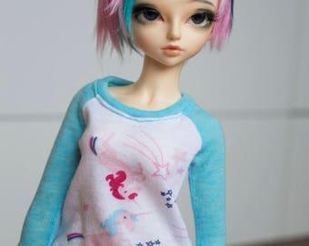 Minifee Slim MSD 1/4 bjd Pastel Unicorn t-shirt
