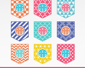 Patterned pocket monogram  Monogram SVG, Chevron Pocket svg, Mermaid Pocket Svg, DXF, PNG Formats 0074