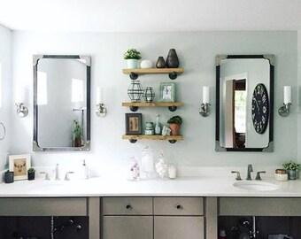 "Industrial Floating Shelves, Set of 3 Bathroom Shelves, 8"" Depth Pipe Shelves, Bathroom Storage Rustic Open Shelving Organization"