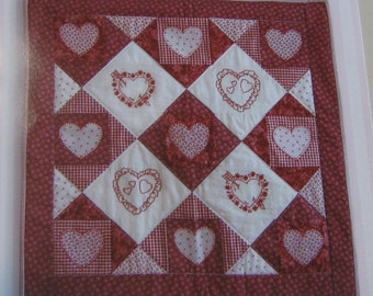 Quilt pattern, quilted 24x24 wall hanging pattern, Time for Romance pattern