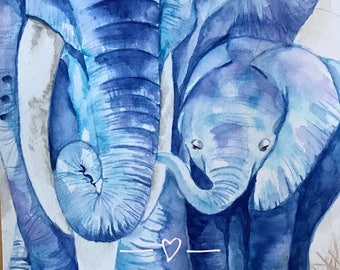 Gift, elephant, animal art, inspirational art, Watercolor painting, professional quality giclee print, home decor, wall art, art print