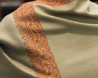 Pure Pashmina Shawl/Wrap, Hand Embroidery, Pure Cashmere Shawl, Cashmere Wrap, Sozni Hand Embroidery, Kashmiri Sozni Work, Beige Women Shawl