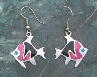 Signed ALIA  Mexico Silvertone Vintage Dangle Fish Earrings Enamel Inlays QQ31