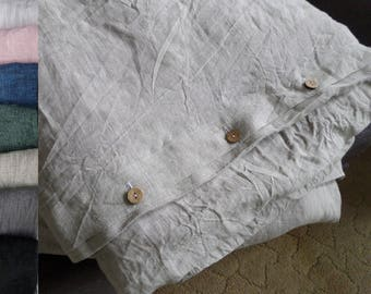 DUVET COVER 100% Linen gray(unpainted) queen king prewashed linen bedding Organic duvet cover ,flax bedding Button closure