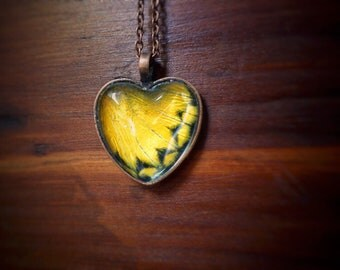 Real Yellow Butterfly Necklace // Friendship Necklace // Butterfly Lover Gift // Meaningful Gifts // Real Butterfly Jewelry // Heart Pendant
