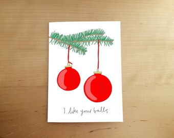 christmas card - funny card - illustrated card - hand drawn - humour - rude card - christmas tree - baubles - nice balls - card for him
