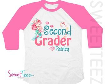 Second Grader Shirt Mermaid Shirt 2nd Grade Shirt Hot Pink Kids Hip Raglan Back to School Shirt Heart Personalized with Name and School Year