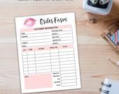 LipSense Order Form, LipSense Invoicing, LipSense Ordering, LipSense Business, Printable, Digital