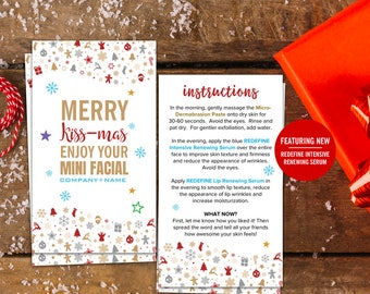 Rodan and Fields, Mini Facial Card, Merry Kissmas, Kiss-mas, Give It A Glow, Instant Download, Digital, Printable