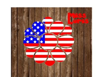 Flower Flag SVG DFX Cut file flower 4th of July t shirtscrapbook vinyl decal wood sign cricut cameo Commercial use