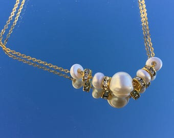 HANDMADE European Style Necklace With Genuine Freshwater Pearls on 24k Gold Plated Chain
