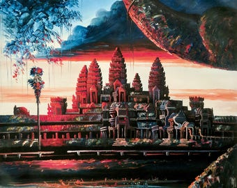 Rovath 80x120 cm Angkor Wat oil on canvas from Siem Reap, Cambodia