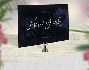 Wedding Table Names, Navy Table Cards, Floral Table Names, Elegant Table numbers, Winter Wedding, Custom Table Names, Travel Theme Wedding