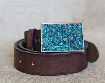 Turquoise Natural Stone Belt Buckle