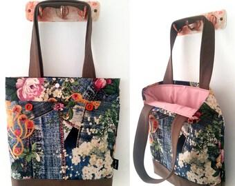 Tote bag, shoulder bag, vegan bag, Handbag, Beach Bag, summer bag, Everyday bag, canvas handbag, canvas tote, floral bag, colorful hand bag