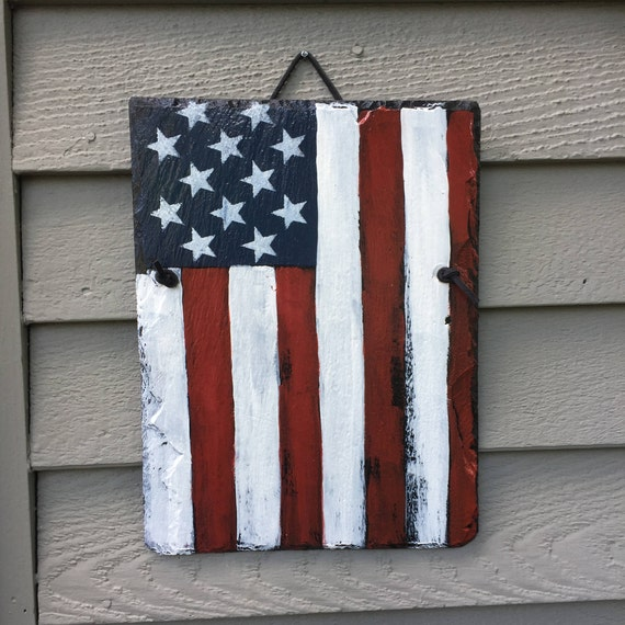 July 4th decorations, American Flag Hand painted slate, Patriot decor, Fourth Of July Door Decoration, Red White Blue, American Flag