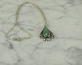 """Sterling Silver Turquoise Necklace (16"""")"""