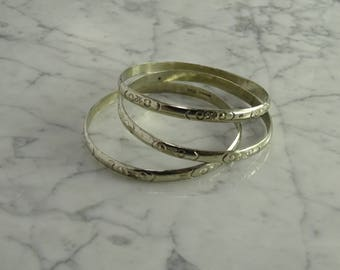 Three Matching Sterling Silver Bangles