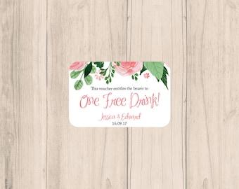 Blush Pink Floral Printable Wedding Drink Voucher, Floral Greenery Blush Wedding Drink Voucher, Digital Download, OD-100
