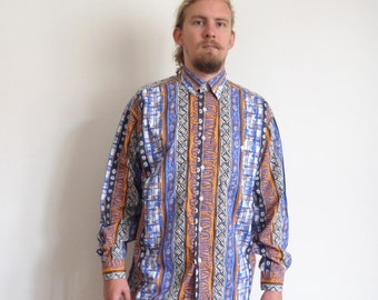 80's shirt Vinci Casual 80's 90's Vintage Shirt Abstract print Long sleeve Party Hipster Groovy Street Style large size