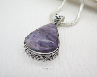 Antique Tear Drop Charoite Sterling Silver Pendant and Chain