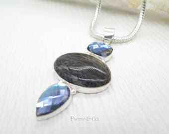 Blue Quartz and Jasper Sterling Silver Pendant and Chain