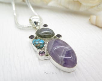 Fluorite Labradorite Turquoise Sterling Silver Pendant and Chain