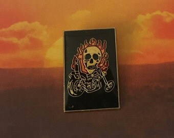 "Vintage Deadstock  ""Chopper Motorcycle Skull Flames "" Pin"