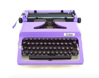 Erika 50/60 typewriter, Russian typewriter, Russian keyboard, purple typewriter, working typewriter, portable typewriter, vintage, qwerty.