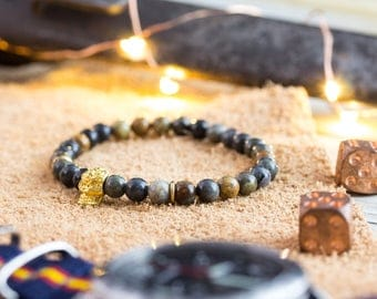 6mm - Picasso stone beaded stretchy bracelet with gold skull, bead bracelet, mens bracelet, gemstone bracelet, skull bracelet