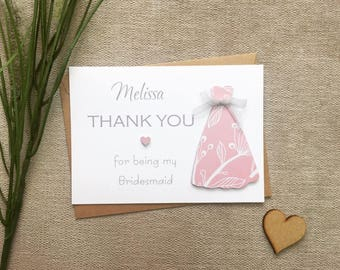 Thank you for being my bridesmaid card, thank you bridesmaid card, personalised bridesmaid thank you card