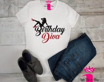 Bling Birthday Diva Shirt, Birthday Shirt, Women Custom Birthday Shirt