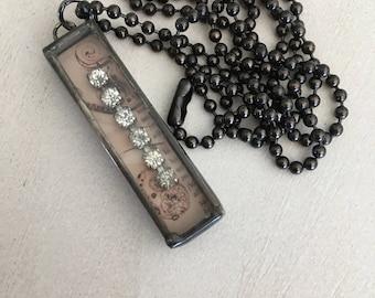 Soldered Rhinestone Reliquary Necklace, vintage rhinestones