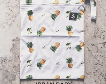 Pineapple Wet Bag, Diaper Storage Bag, Travel Bag, Swim Bag, Waterproof Bag, Nappy Bag, Cloth Diaper Bag, TPU, Modern, Diaper Cover, Yellow