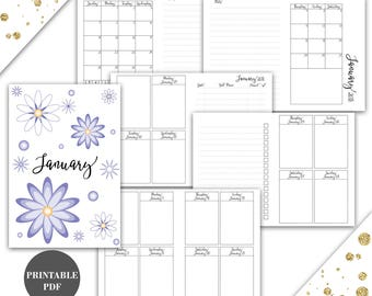 Passport Size Travelers Notebook TN Inserts Printable January 2018 Week on 2 Pages Vertical Instant Download Printable (pj5)