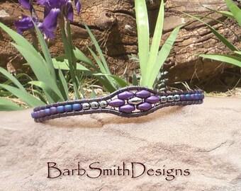 Purple Wrap Bracelet-Magnet Bracelet-Beaded Leather Bracelet-Boho Wrap-Southwest Bracelet-Custom Size-Magnet Clasp-Skinny Mini in Deep Iris