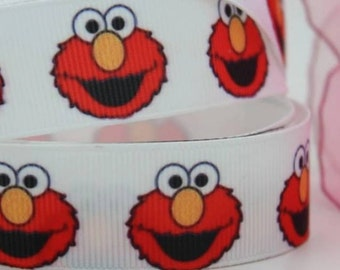 "7/8"" Sesame Street Elmo Grosgrain Ribbon by the Yard  SHF"
