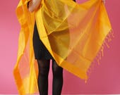 Chanderi Dupatta / Silk Cotton / Shawl / transparent stole / stripes / anniversary accessories / Xmas New Year  / Gift Idea