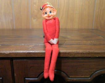 Vintage Christmas Pixie Elf Knee Hugger Ornament Decoration