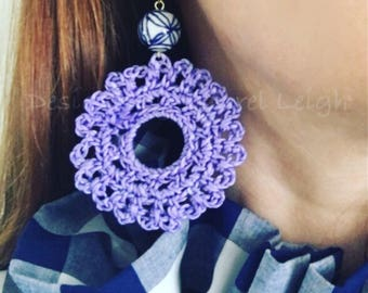 Crochet Lace Earrings | LAVENDER,  PURPLE, chinoiserie, lightweight, blue and white, gold, statement earrings