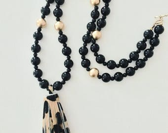 Chunky LEOPARD Print Beaded Tassel Necklace | black, gold, statement necklace, gold, animal, print, leather, fur, Designs by Laurel Leigh