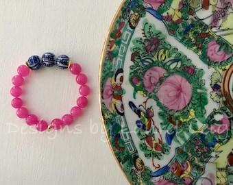 HOT PINK Chinoiserie Beaded Bracelet | gemstone, stretchy, blue and white, Designs by Laurel Leigh