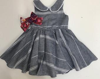 Vintage stripe Linen Twiring Dress // July 4th special