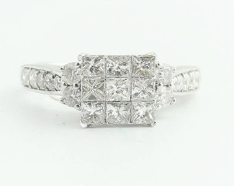 Cluster Princess Cut Engagement Ring- 14k White Gold