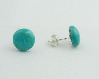 Turquoise Stud Earrings - Sterling Silver